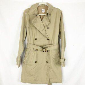 NEW Gap Classic Trench Coat Jacket Tan Khaki L